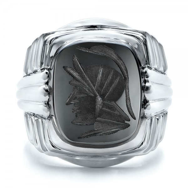 Custom Men's Signet Ring - Top View -  101267 - Thumbnail