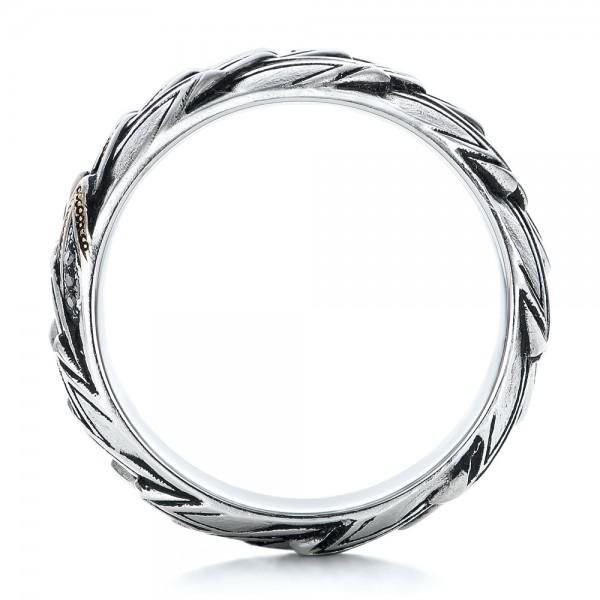Custom Men's Snake Scale Fashion Ring - Finger Through View