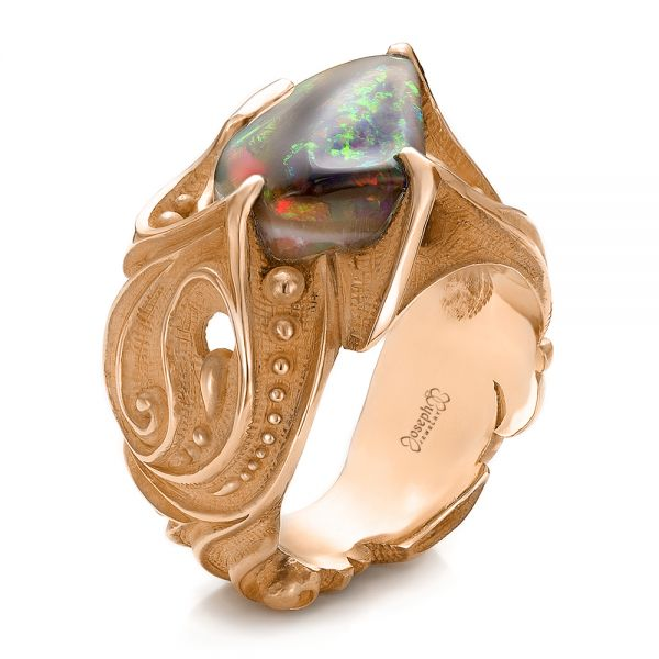 Custom Men's Black Opal and Yellow Gold Ring - Image