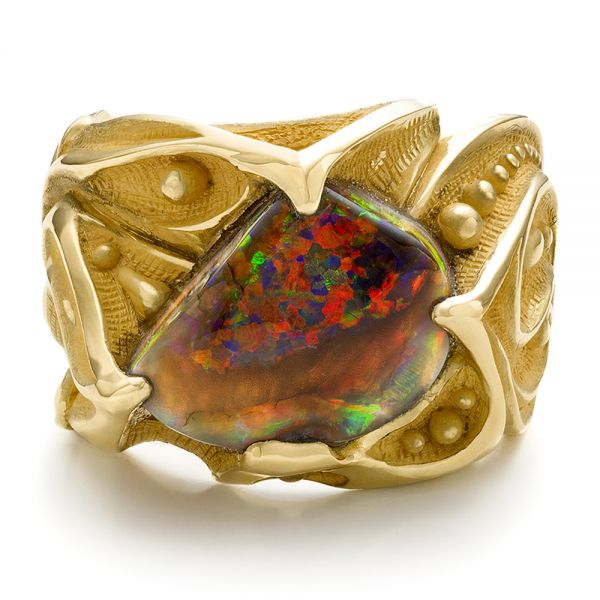 Custom Men's Black Opal and Yellow Gold Ring -  100574