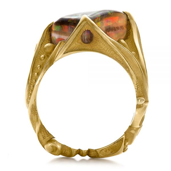 Custom Men's Black Opal and Yellow Gold Ring - Front View -  100574 - Thumbnail