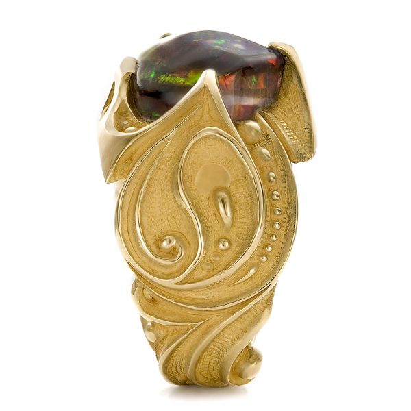 Custom Men's Black Opal and Yellow Gold Ring - Side View -  100574 - Thumbnail