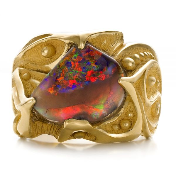 Custom Men's Black Opal and Yellow Gold Ring - Top View -  100574 - Thumbnail