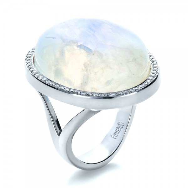 Custom Moonstone and Diamond Ring