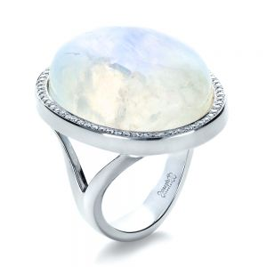 Custom Moonstone and Diamond Ring - Image