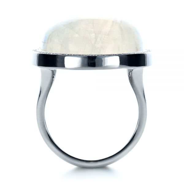 14k White Gold Custom Moonstone And Diamond Ring - Front View -