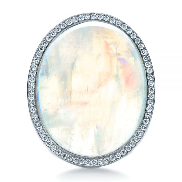 14k White Gold Custom Moonstone And Diamond Ring - Top View -