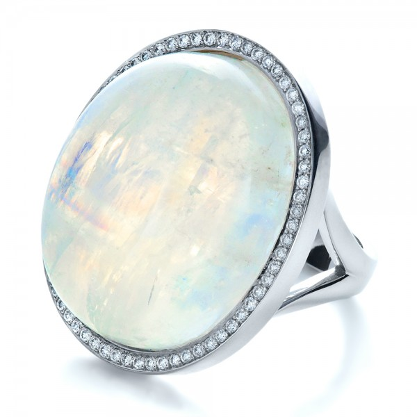 Custom Moonstone and Diamond Ring - Laying View
