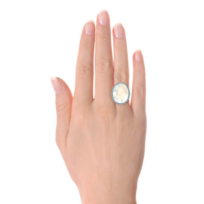 Custom Moonstone and Diamond Ring - Model View