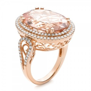 Morganite and Double Diamond Halo Fashion Ring