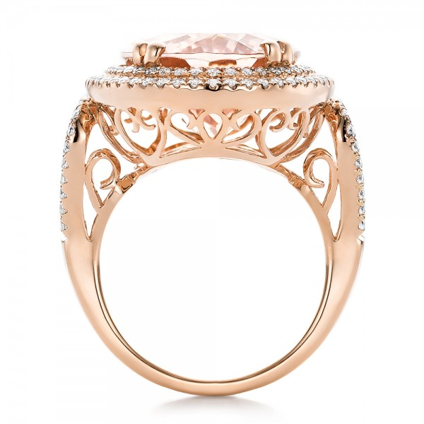 Morganite and Double Diamond Halo Fashion Ring - Finger Through View