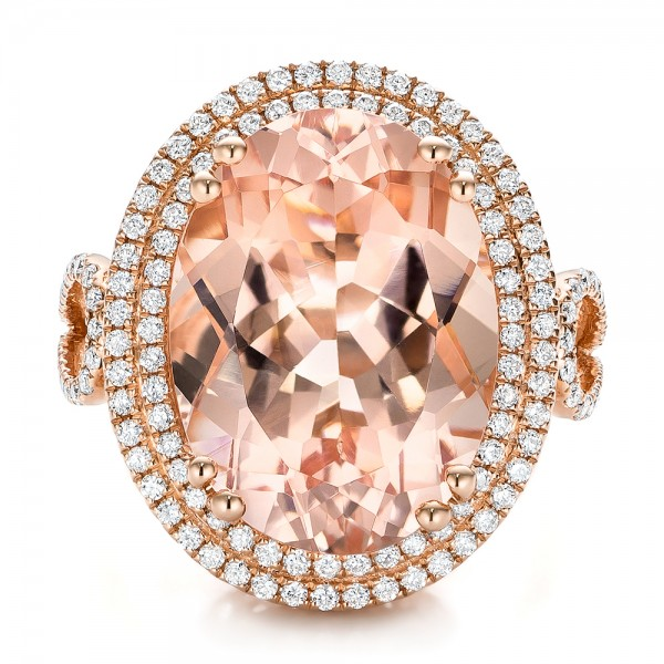 Morganite and Double Diamond Halo Fashion Ring - Top View