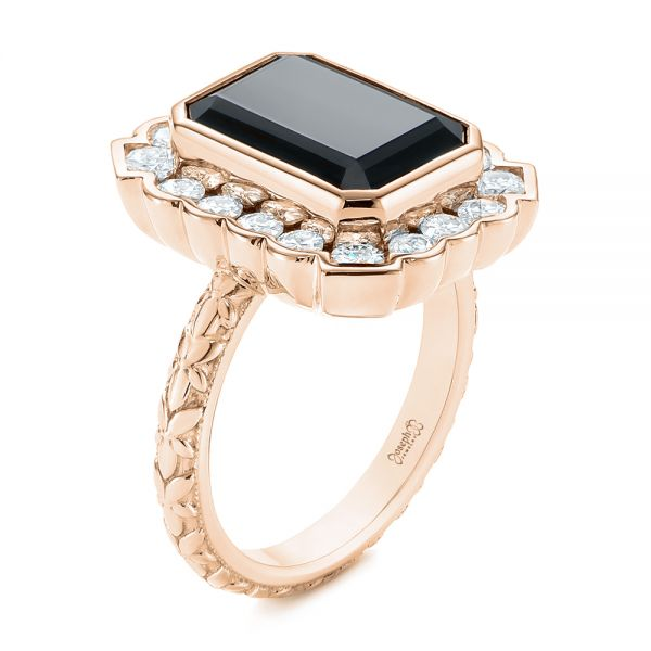 14k Rose Gold 14k Rose Gold Custom Onyx And Diamond Halo Fashion Ring - Three-Quarter View -  105055