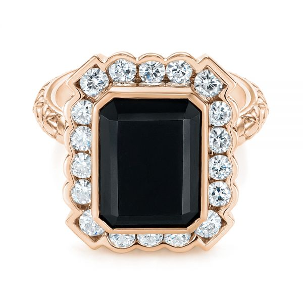 14k Rose Gold 14k Rose Gold Custom Onyx And Diamond Halo Fashion Ring - Flat View -  105055