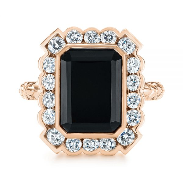 14k Rose Gold 14k Rose Gold Custom Onyx And Diamond Halo Fashion Ring - Top View -  105055