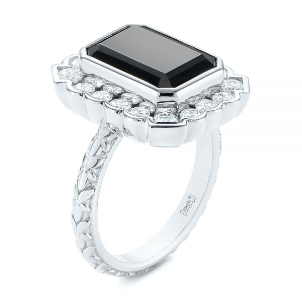 Custom Onyx and Diamond Halo Fashion Ring - Image