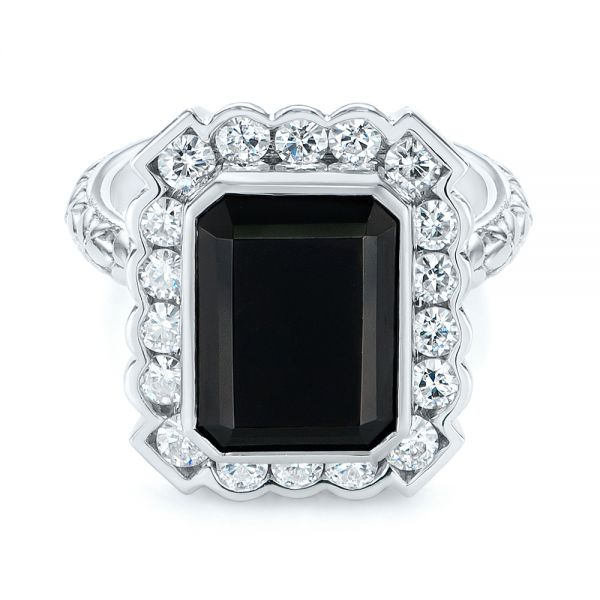 14k White Gold Custom Onyx And Diamond Halo Fashion Ring - Flat View -