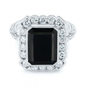 Custom Onyx and Diamond Halo Fashion Ring