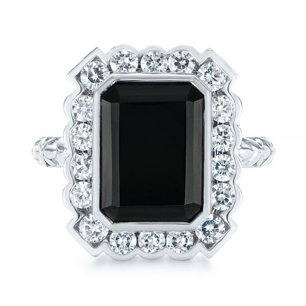 14k White Gold Custom Onyx And Diamond Halo Fashion Ring - Top View -