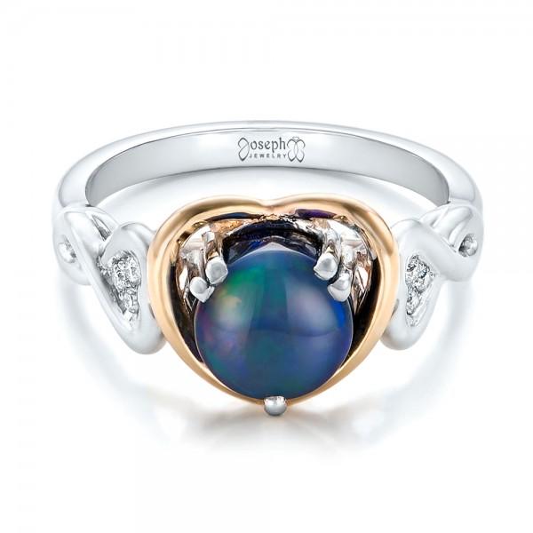 Custom Opal and Diamond Fashion Ring - Laying View