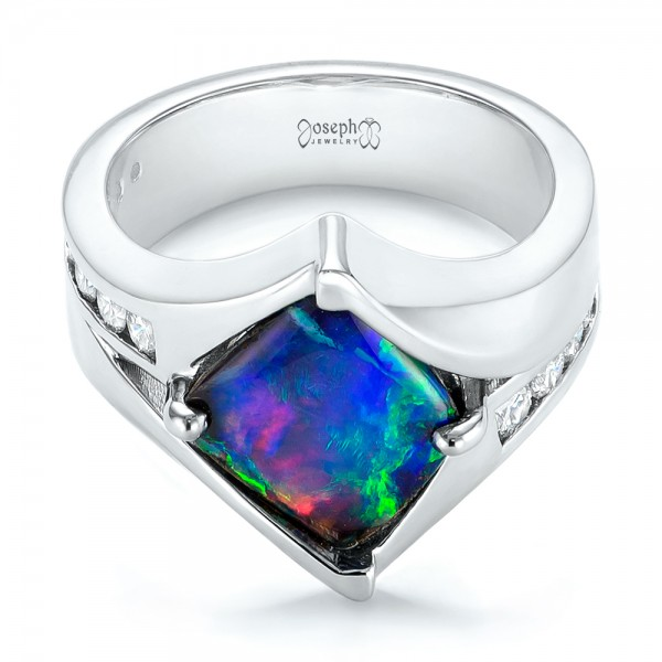 Custom Opal and Diamond Fashion Ring - Laying View