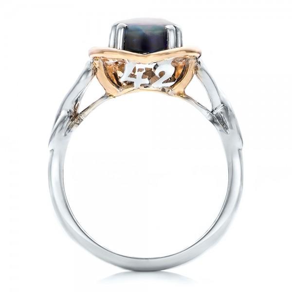 Custom Opal and Diamond Fashion Ring - Finger Through View