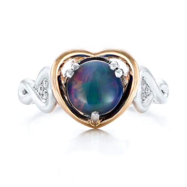 Custom Opal and Diamond Fashion Ring - Top View