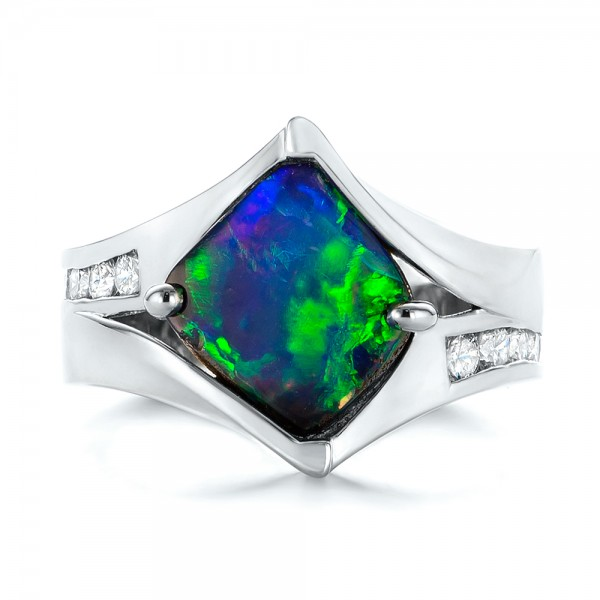 Custom Opal and Diamond Fashion Ring - Top View