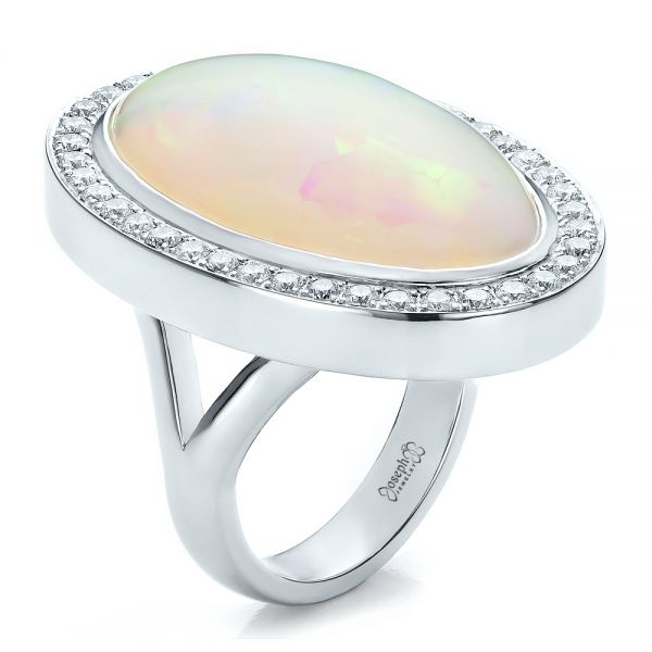 Custom Opal and Diamond Ring
