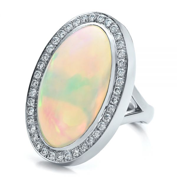 Platinum Custom Opal And Diamond Ring - Flat View -
