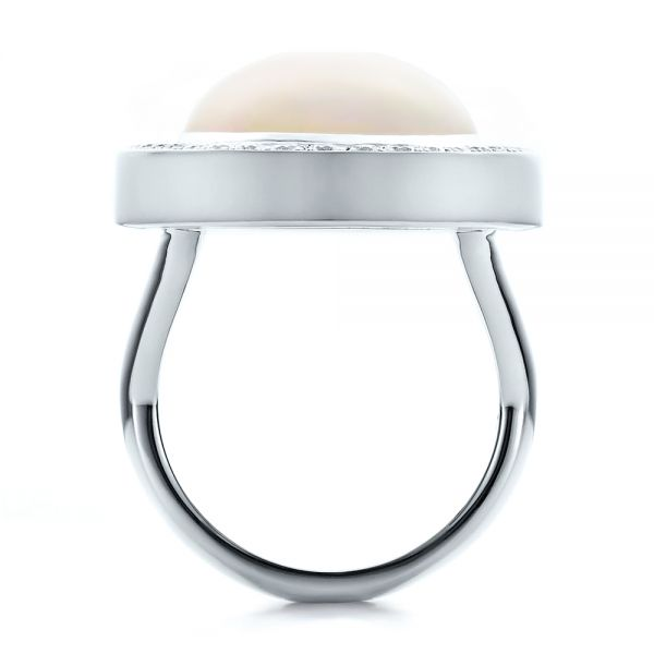 Platinum Custom Opal And Diamond Ring - Front View -