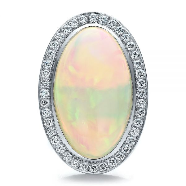 Platinum Custom Opal And Diamond Ring - Top View -