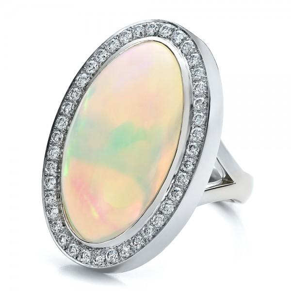 Custom Opal and Diamond Ring - Laying View