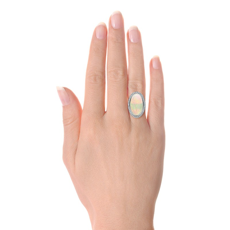 Custom Opal and Diamond Ring - Hand View -  100089 - Thumbnail