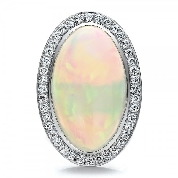 Custom Opal and Diamond Ring - Top View