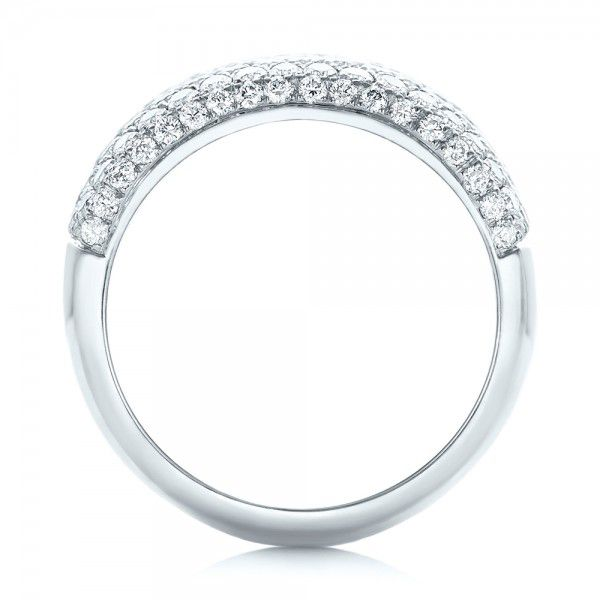 14k White Gold 14k White Gold Custom Pave Diamond Fashion Ring - Front View -