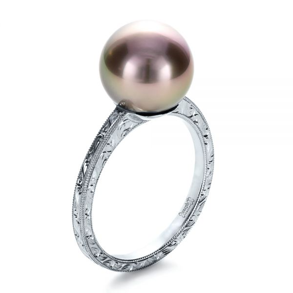 14k White Gold Custom Pearl Ring - Three-Quarter View -