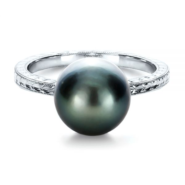 14k White Gold Custom Pearl Ring - Flat View -  1166