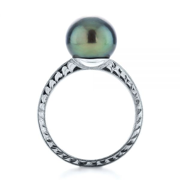 14k White Gold Custom Pearl Ring - Front View -  1166
