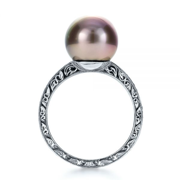 14k White Gold Custom Pearl Ring - Front View -