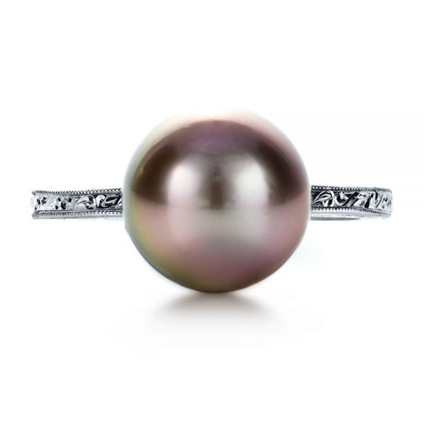 14k White Gold Custom Pearl Ring - Top View -