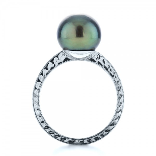 Custom Pearl Ring - Finger Through View