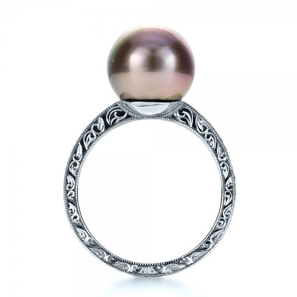 Custom Pearl Ring - Finger Through View