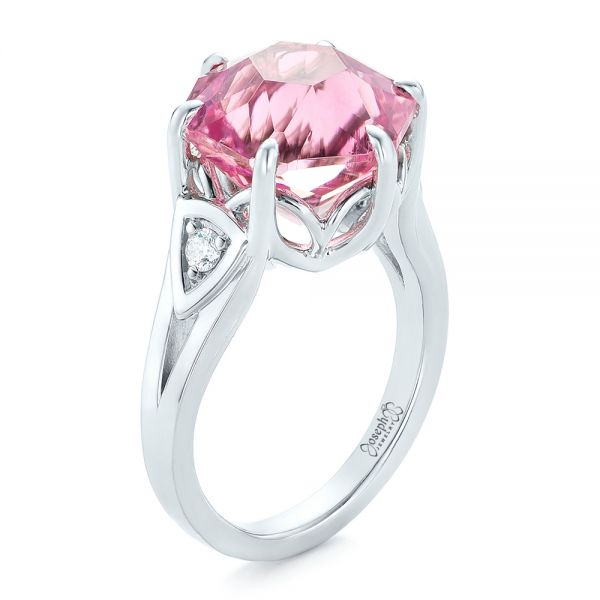 Custom Pink Tourmaline and Diamond Anniversary Ring - Image