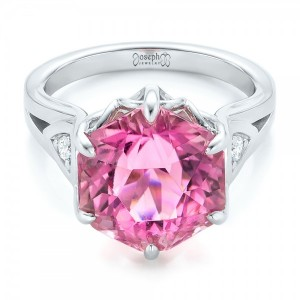Custom Pink Tourmaline and Diamond Anniversary Ring