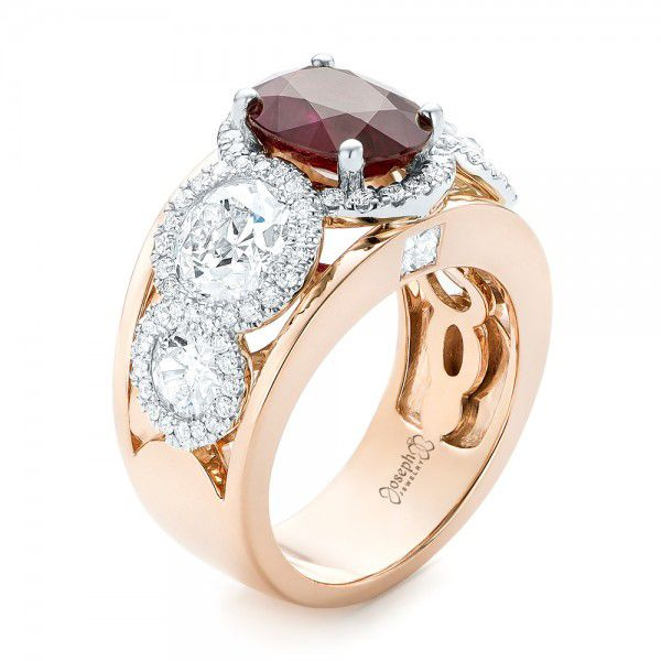 Custom Rose Gold Ruby and Diamond Fashion Ring - Image
