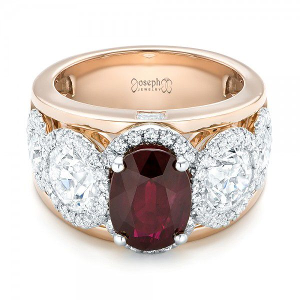 14k Rose Gold And 14K Gold Custom Ruby And Diamond Fashion Ring - Flat View -  102883