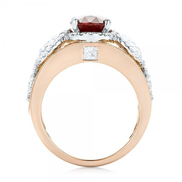 14k Rose Gold And 14K Gold Custom Ruby And Diamond Fashion Ring - Front View -  102883