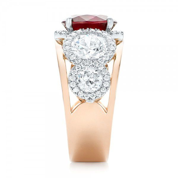 14k Rose Gold And 14K Gold Custom Ruby And Diamond Fashion Ring - Side View -  102883