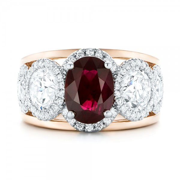 14k Rose Gold And 14K Gold Custom Ruby And Diamond Fashion Ring - Top View -  102883